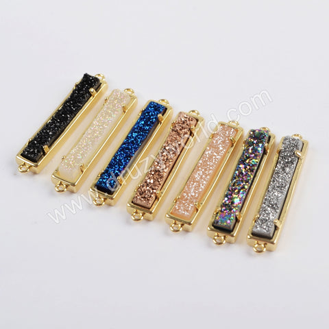 Rectangle Gold Plated Natural Agate Titanium Rainbow Druzy Connector ZG0405