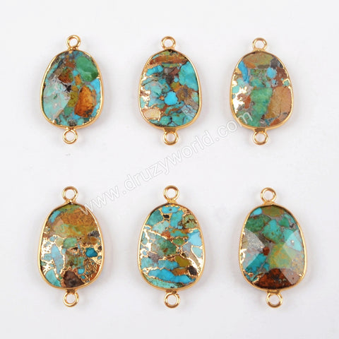 Gold Plated Copper Natural Turquoise Connector Double Bails G1481