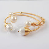 Gold Plated Natural Pearl Bangle WX1279