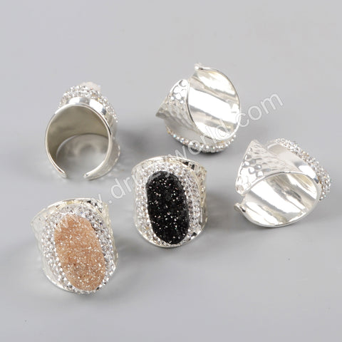 Silver Plated Rhinestone Pave Druzy Agate Ring JAB951
