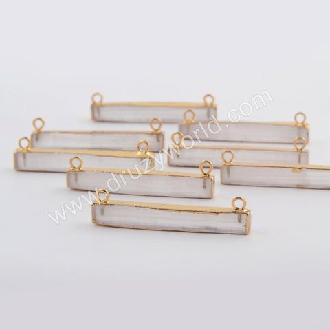 Rectangle Gold Plated Selenite Stone Connector G1765