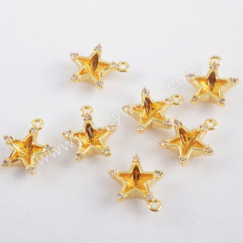 10pieces CZ Micro Pave Charm Making Jewelry Supply 14K Gold Plated Brass PJ439