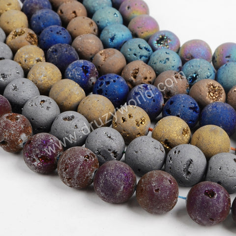 16mm Round Rainbow Natural Titanium Druzy Loose Bead LS008