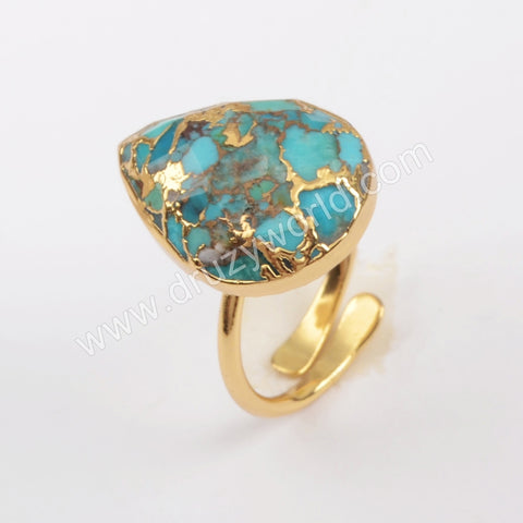 Teardrop Gold Plated Copper Turquoise Ring G1836