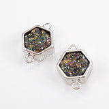 Bezel Natural Agate Titanium Rainbow Druzy Connector Silver Plated ZS0138