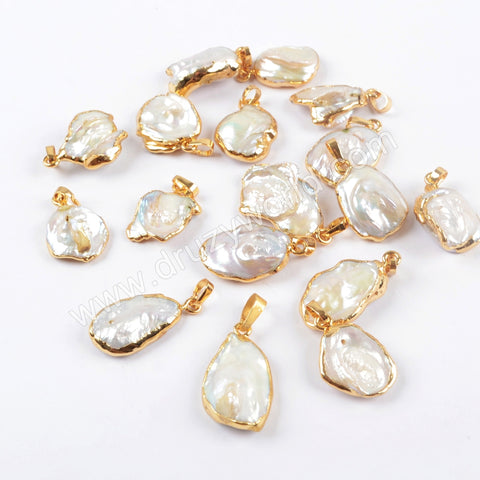 Gold Plated Freeform Natural White Pearl Pendant G1673