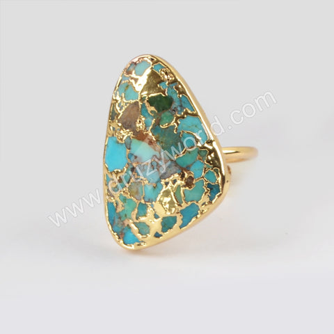 Gold Plated Copper Turquoise Ring G1837