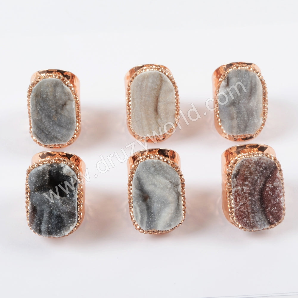 Rose Gold Plated Rhinestone Pave Natural Galaxy Stone Ring JAB952