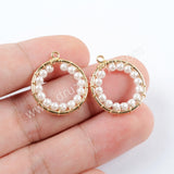 5pieces/lot,Round Pearl Gold Plated Brass DIY Charm Making Jewelry Supply PJ214