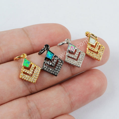 CZ Micro Pave Diamond Shape Man-made Opal Pendant Beads WX547