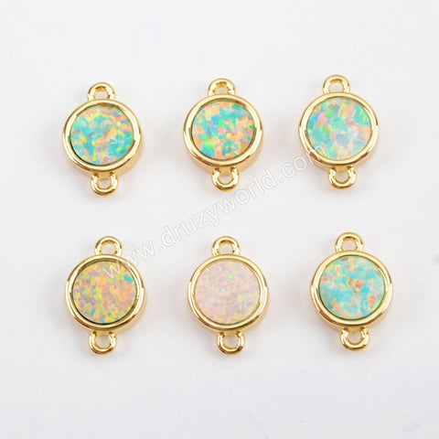 Round Gold Plated Blue Opal Bezel Connector Double Bails ZG0263