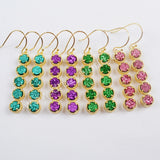 Boho Chic Gold Plated Prong Set Five Round Titanium Quartz Druzy Earrings For Gift ZG0350