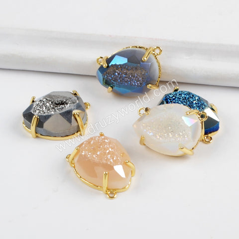 Oval Gold Plated Claw Rainbow Titanium Druzy Faceted Connector ZG0314