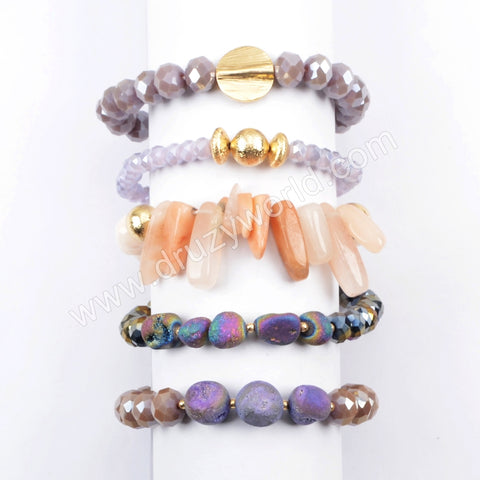 Druzy Crystal Glass Beads Bracelet Set Friendship Gift Jewelry WX1061