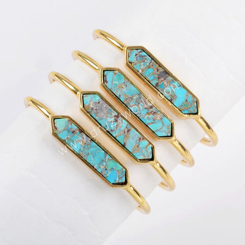 Hexagon Gold Plated Natural Turquoise Bezel Open Bangle ZG0255