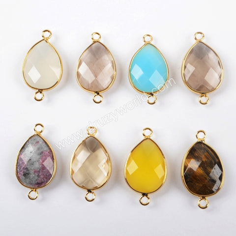 Gold Plated Teardrop Multi Kind Stones Faceted Connector G1445
