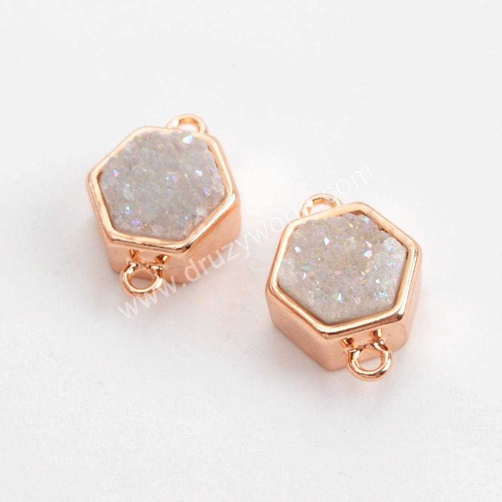 Hexagon Rose Gold Plated Bezel Natural Agate Titanium Rainbow Druzy Connector Double Bails ZR0138