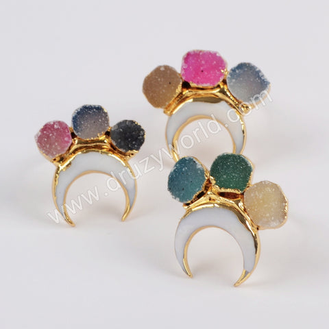 Gold Plated Horn White Shell & Three Rainbow Agate Druzy Ring G1838