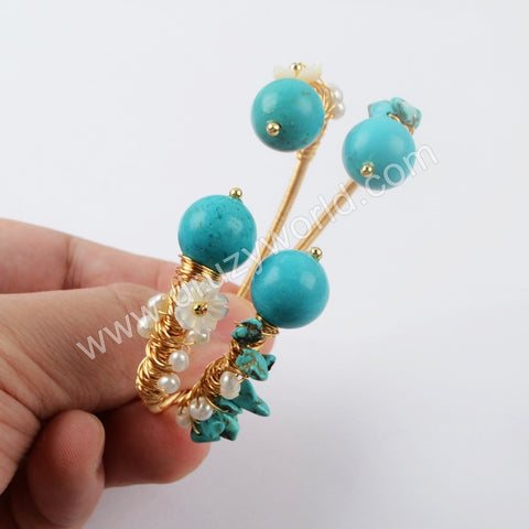 Gold Plated Blue Howlite Bangle WX1280