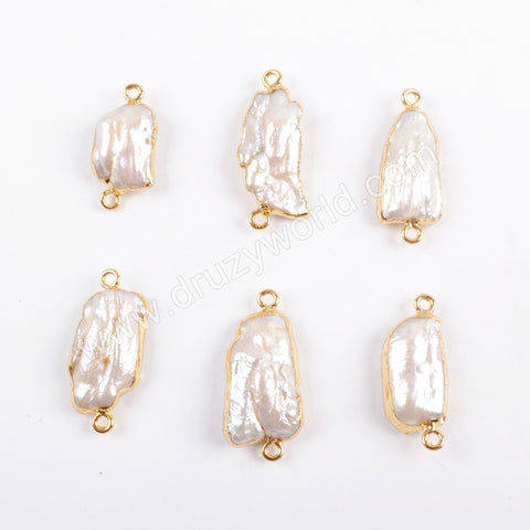 Gold Plated Freeform Natural White Pearl Connector G1674