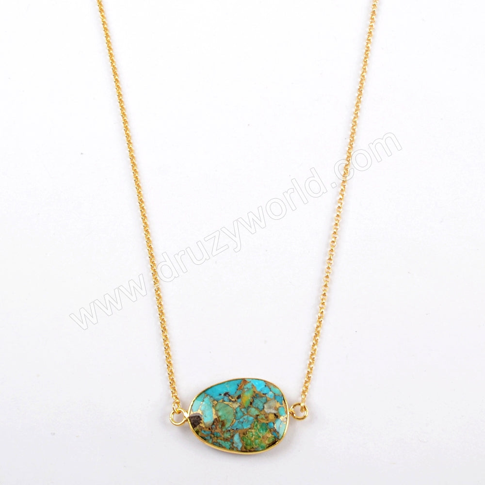 "25"" Gold Plated Copper Turquoise Faceted Adjustable Chain Necklace G1623"