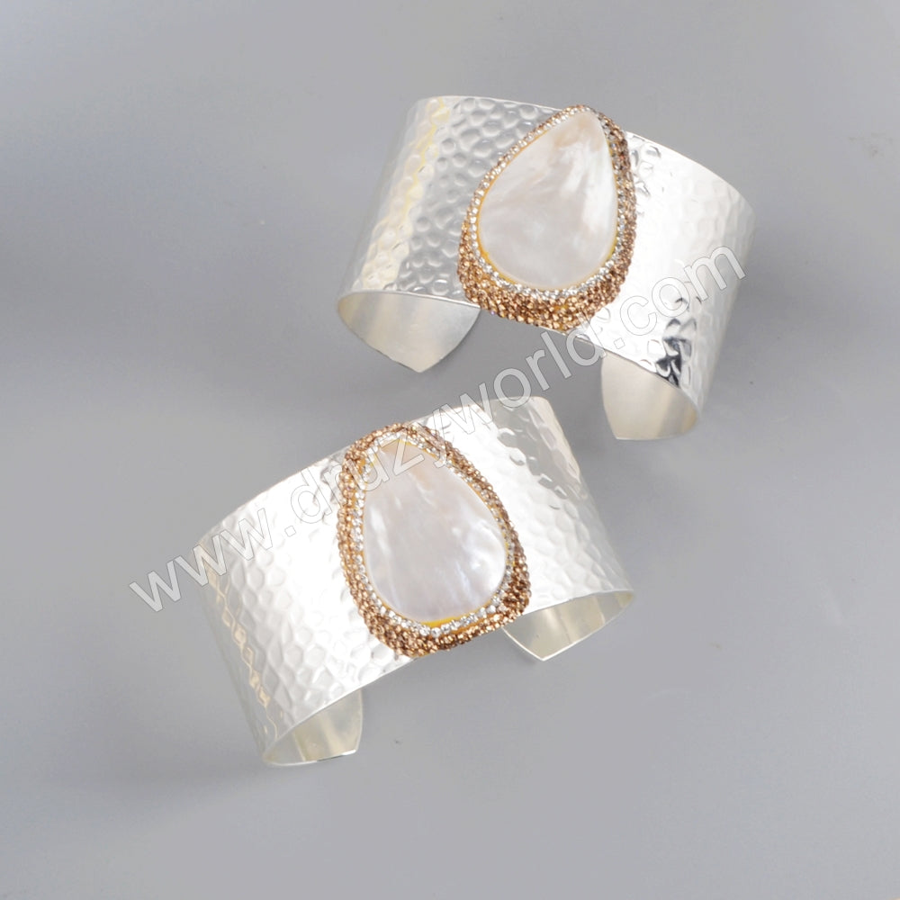 Silver Plated Rhinestone Pave Natural White Shell Open Bangle JAB953