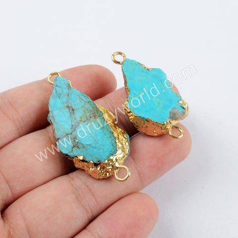 18K Gold Plated 100% Natural Turquoise Slice Connector For Handmade Jewelry G1624