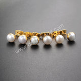 Round Shape Gold Plated Natural Pearl Stud Earrings G1064