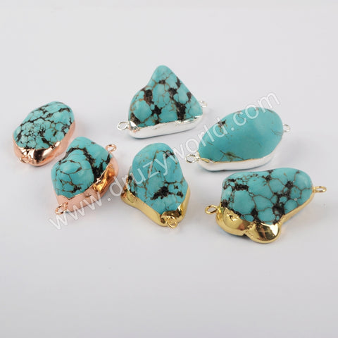 Gold Plated Freeform Blue Howlite Turquoise Druzy Connector S1930/G1930/R1930