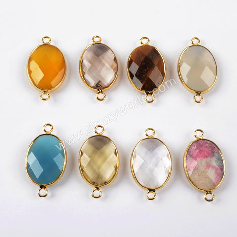 Gold Plated Oval Multi Kind Stones Faceted Connector G1446