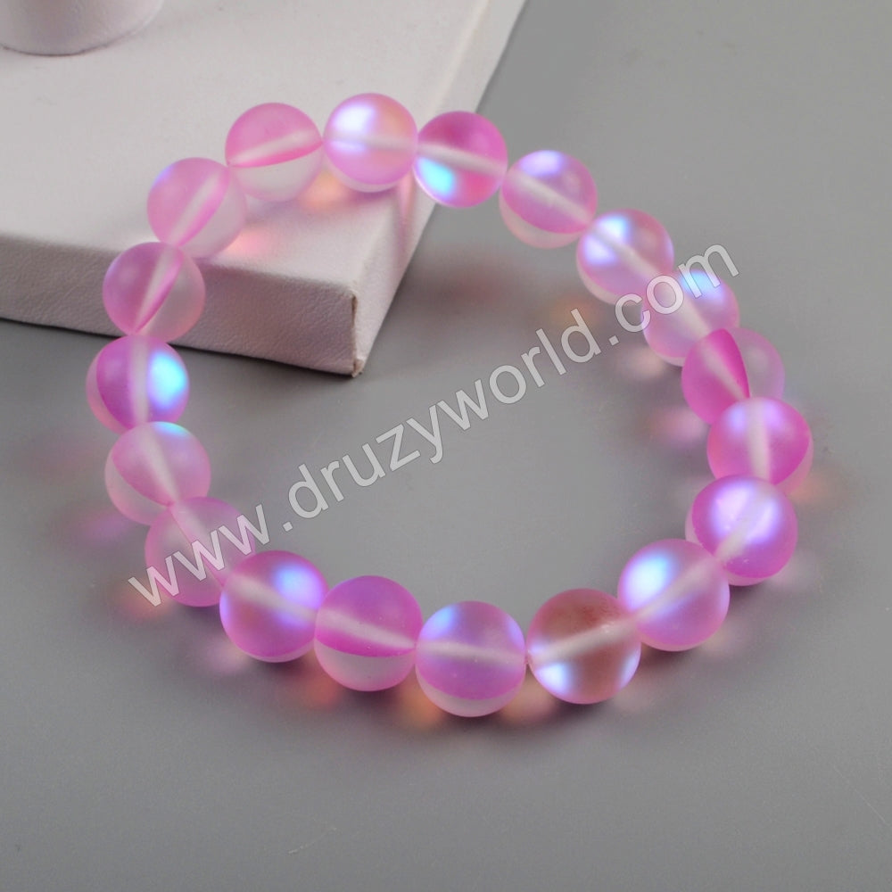 Gold Plated 10mm Rainbow Glass Beads Bracelet G1804