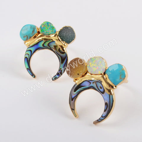 Gold Plated Horn Abalone Shell & Three Rainbow Agate Druzy Opal Turquoise Ring G1839