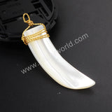 Wire Wrap White Shell Horn Pendant WX122