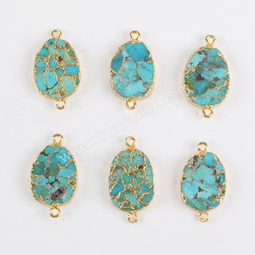 Oval Gold Plated Copper Turquoise Connector Double Bails G1323