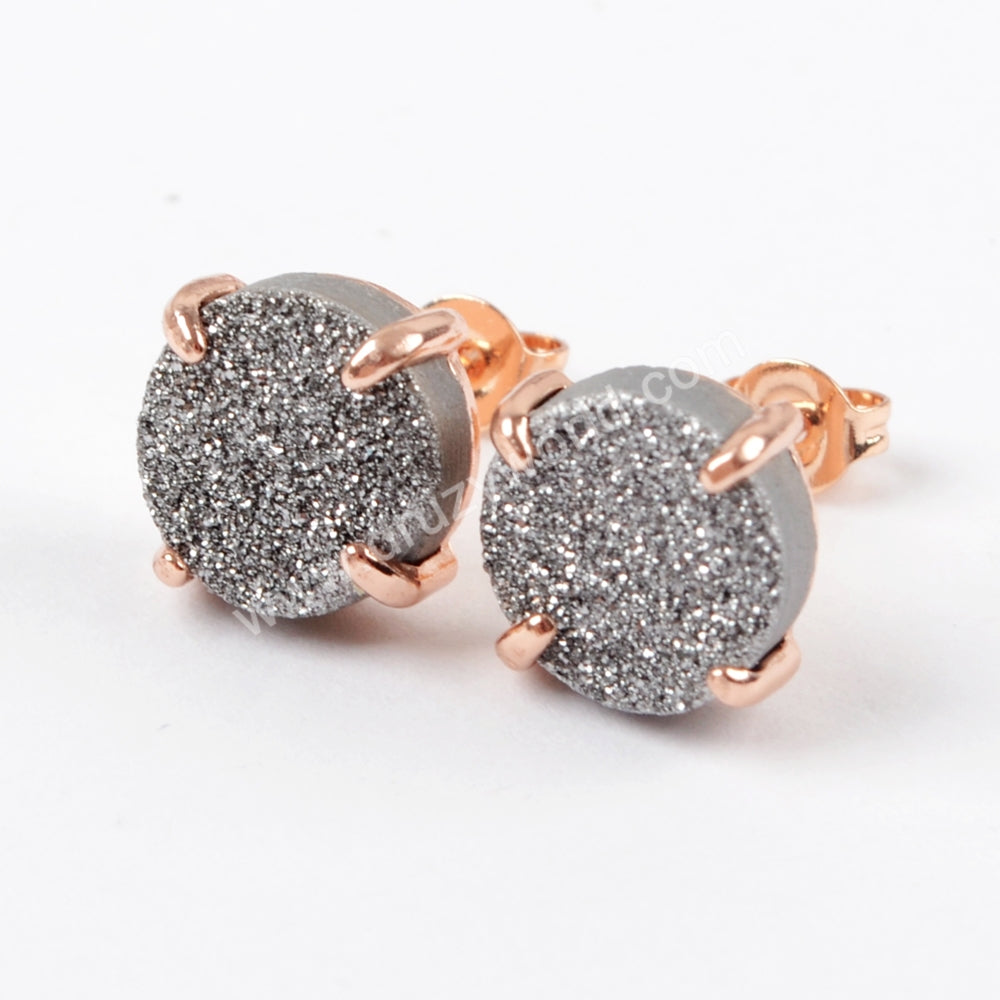 10mm Round Rose Gold Claw Titanium AB Natural Druzy Earrings ZG0132