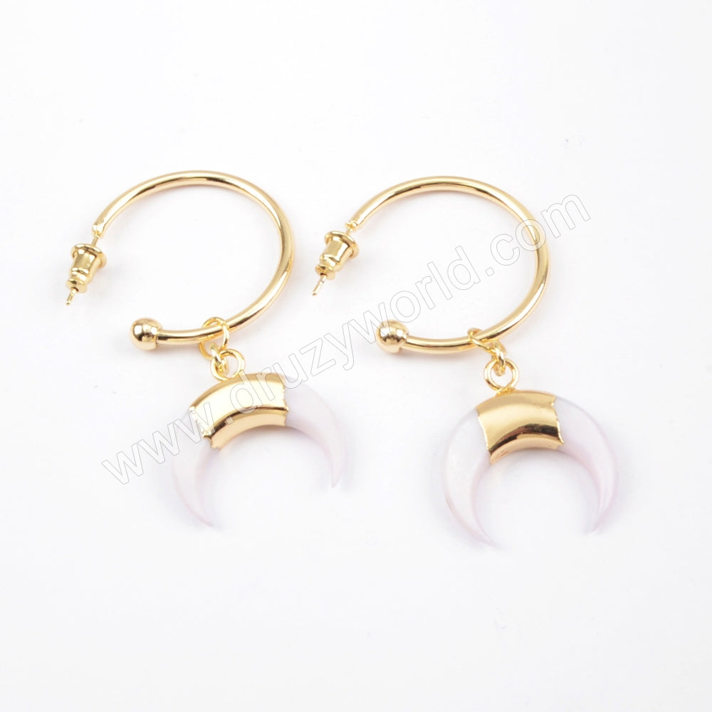 Gold Plated White Shell Horn/Moon With Round Ring Earrings G1677