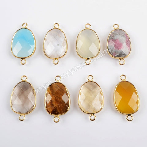 Gold Plated Egg Shape Multi Kind Stones Faceted Connector G1447