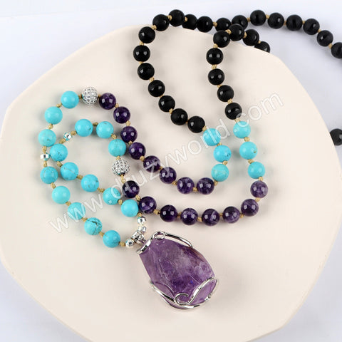 Silver Natural Amethyst Gemstone Bead Long Necklace HD0229