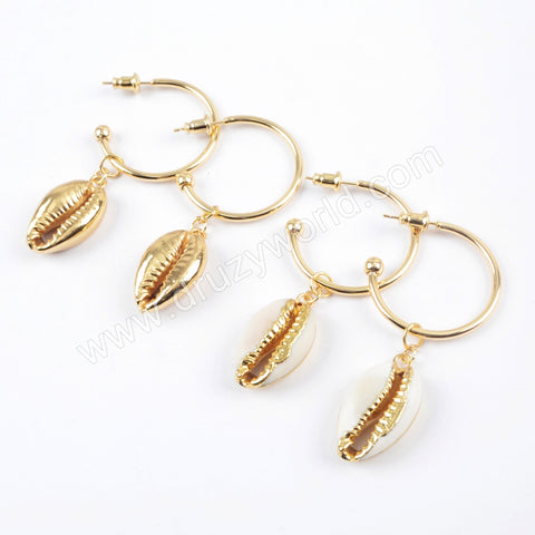 Full/Gold Plated Cowrie Shell With Round Ring Earrings G1678
