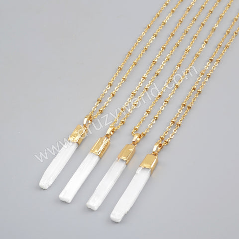 "20"" Point Gold Plated Selenite Stone Necklace Boho Chic Summer Jewelry G1703-N"