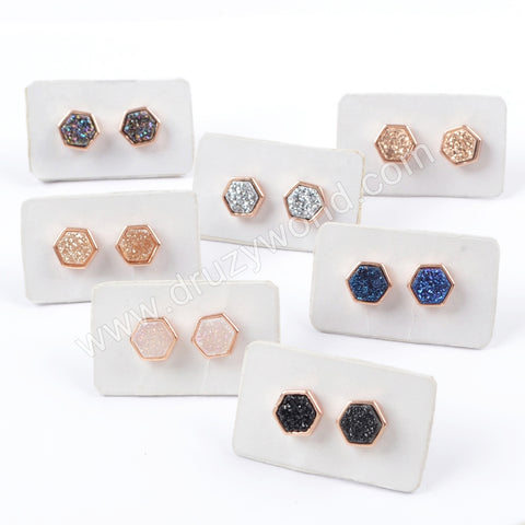 Hexagon Rose Gold Plated Bezel Rainbow Titanium Druzy Studs ZR0275