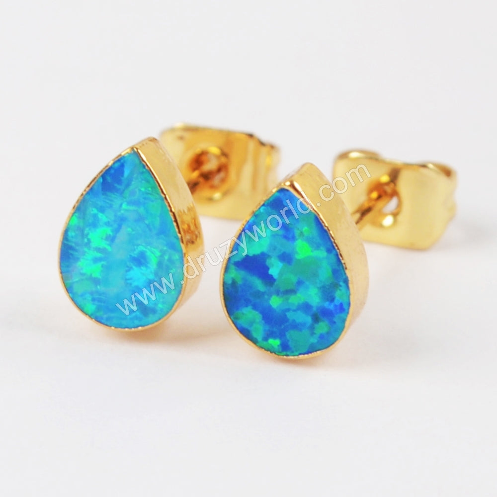 Gold Plated Teardrop White Opal Studs G1418