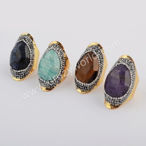 Tear Drop Rhinestone Pave Multi-kind Facted Stone Gold Ring JAB956-1