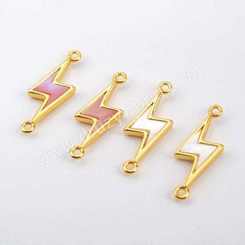 Natural Shell Lightning Connector Charm Gold Plated WX1419
