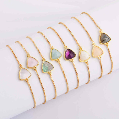 Triangle  Natural Stone Amethyst Gold Bezel Connector Bracelet WX991