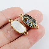 Tiny Round Edge Hexagon Shell Bezel Gold Connector WX1004