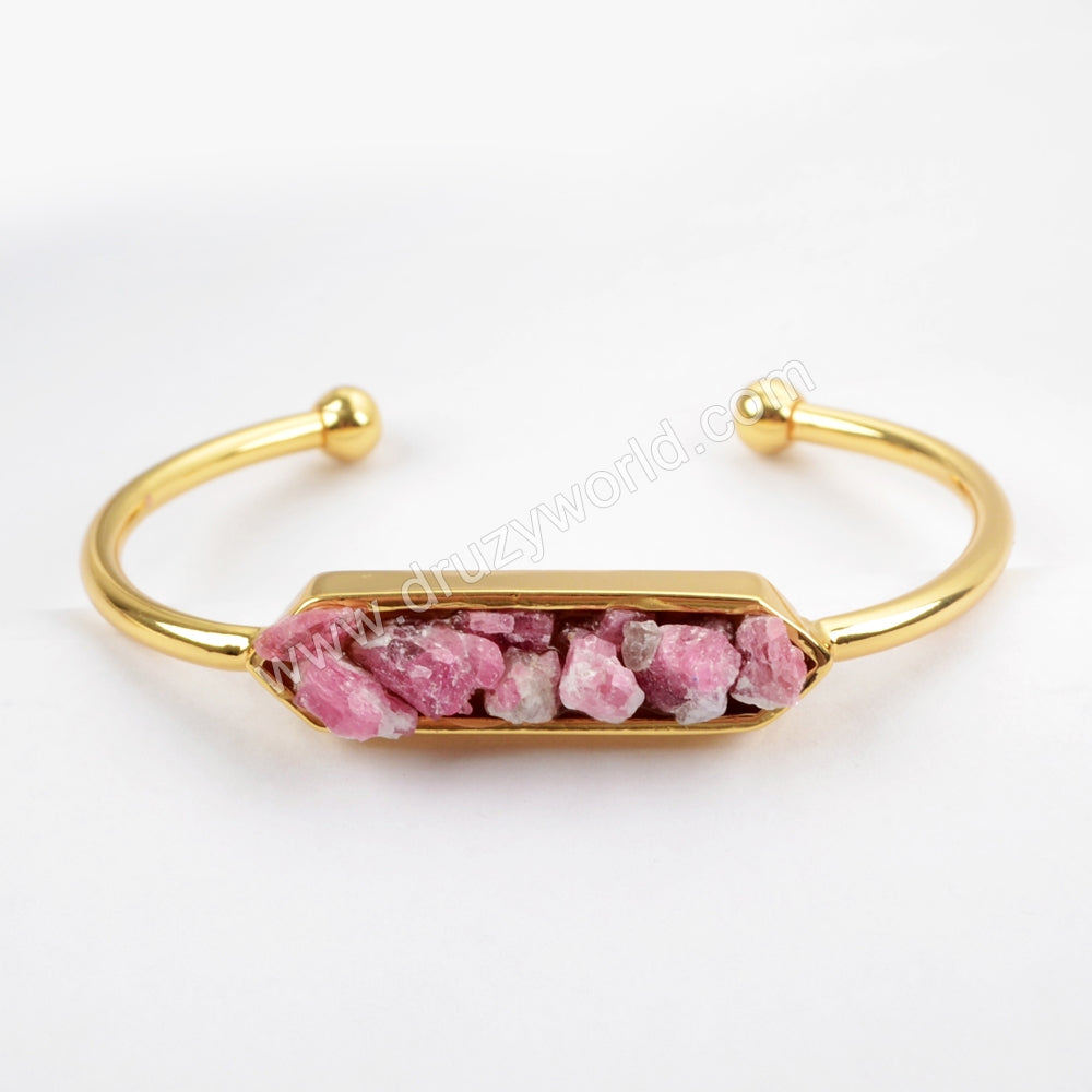 Hexagon Gold Plated Multi-kind Stone Chips Bezel Open Bangle ZG0256