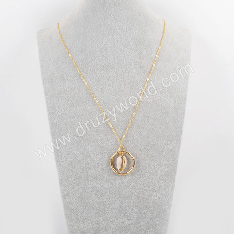 Gold/Silver/Full Silver Plated Cowrie Shell With Round Ring Necklace G1679