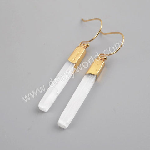 Point Gold Plated Selenite Stone Earring Studs G1703-E
