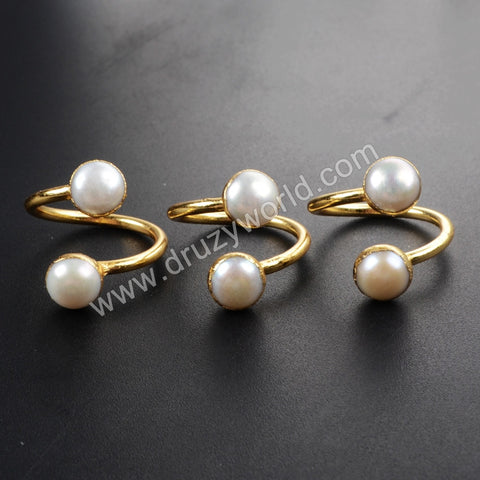 Gold Plated Double Natural Pearl Adjustable Wrap Ring G1097
